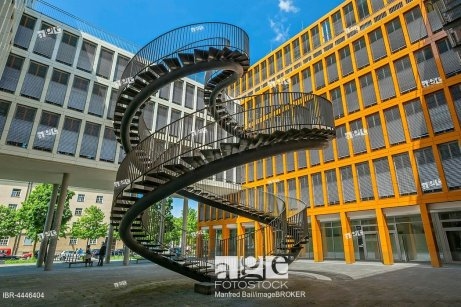 Endless staircase, double helix, sculpture, artist Olafur Eliasson, auditing firm KPMG, Westend, Schwantalerho¨he, Munich, Bavaria, Germany